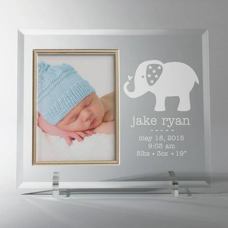 Personalized Glass Baby Frame Elephant