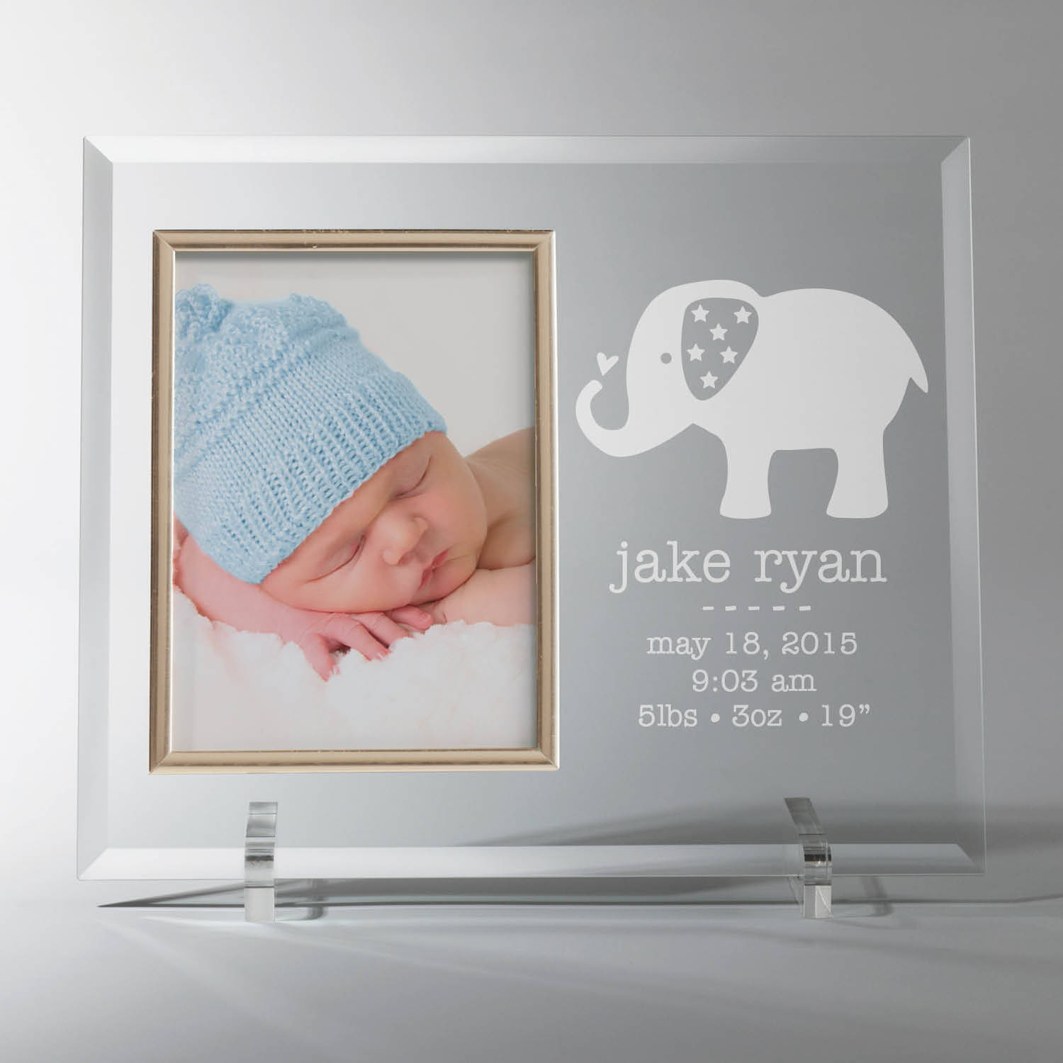 Personalized Glass Baby Frame - Elephant
