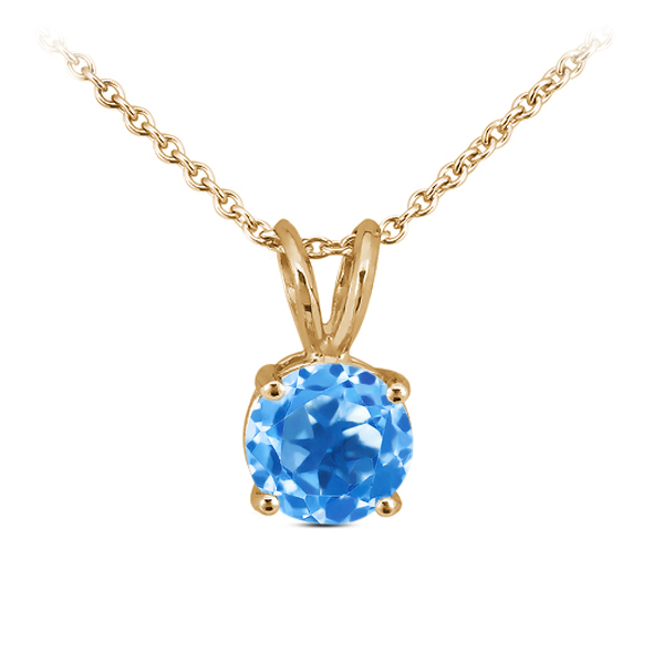 1.00 Ct Round Swiss Blue Topaz 14K Yellow Gold Pendant With Chain