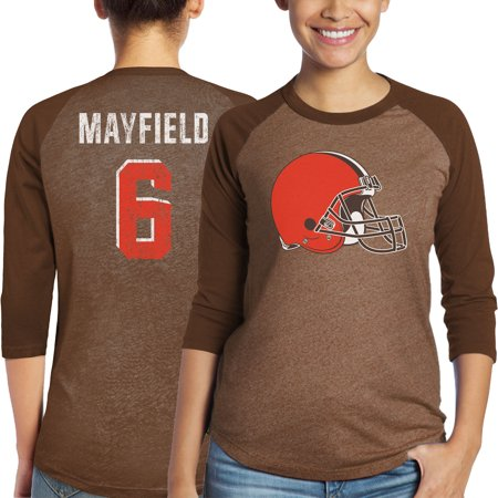 Baker Mayfield Cleveland Browns Majestic Womens Player Name Number Tri Blend 3 4 Sleeve Raglan T Shirt