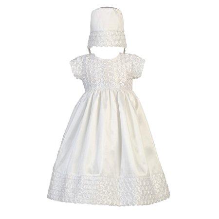 Baby Girls White Ribbon Taffeta Christening Easter Hat Dress Set 12-18M