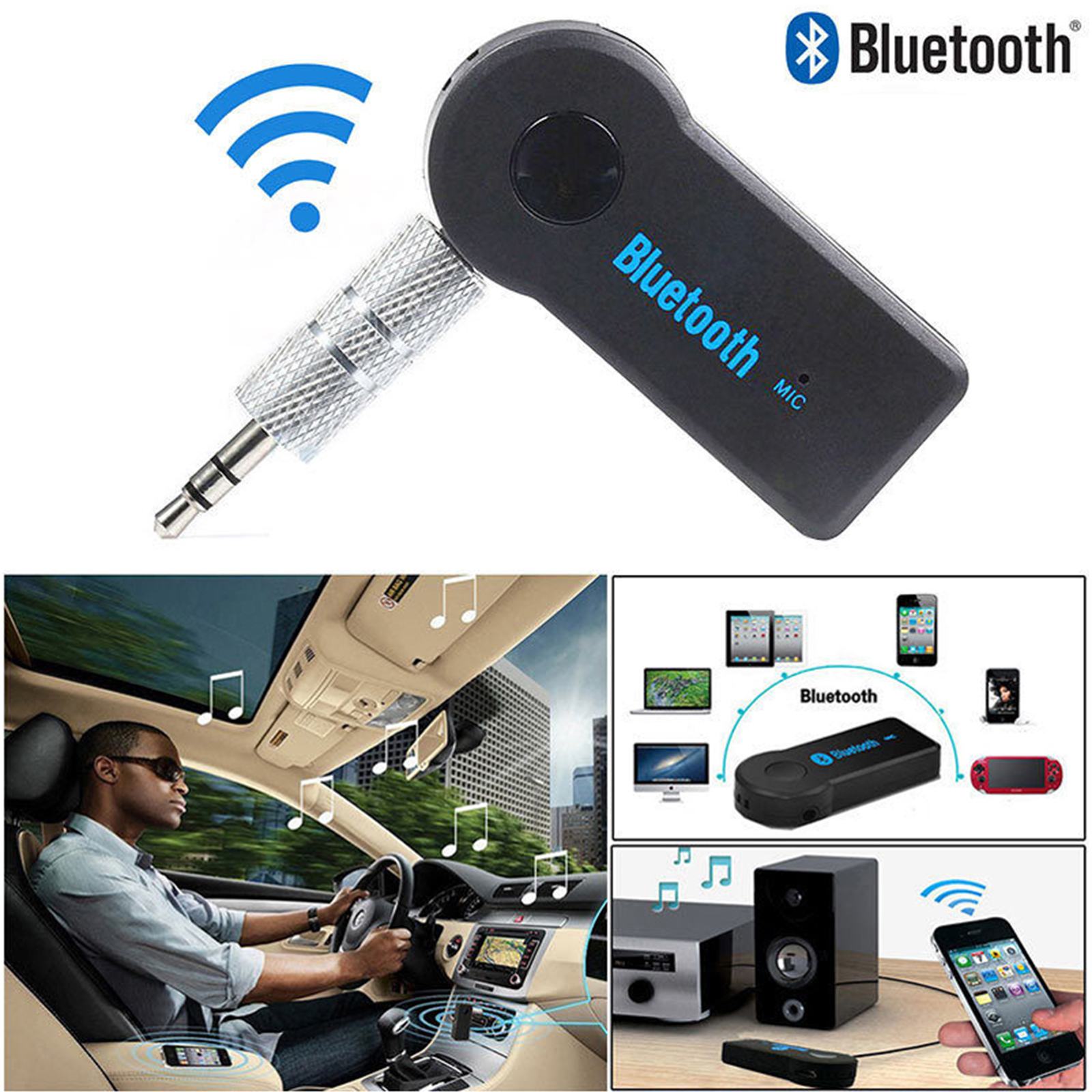 EEEKit Bluetooth Receiver, Wireless 3.5mm AUX Audio Stereo Music Home Car Receiver Adapter Mic for Samsung Galaxy S9/S9 Plus/S8/S8 Plus/Note 9/8/5/S7/Edge/Act