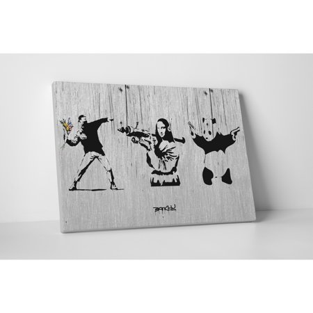 - Pingo World Banksy 'Flower Thrower, Mona Lisa, Panda Set' Gallery-wrapped Canvas Wall Art