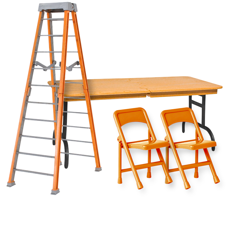 ULTIMATE Ladder, Table & Chairs Orange Playset for WWE Wrestling Action Figures by Figures Toy Company