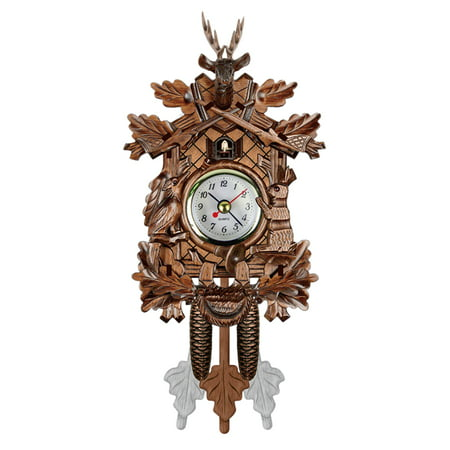 Cuckoo Wall Clock Bird Wood Hanging Decorations for Home Cafe Restaurant Art Vintage Chic Swing Living Room Style (One Bird German Cuckoo Clock)