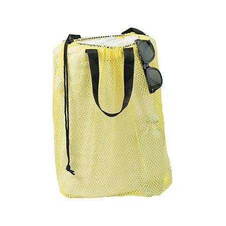 Fun Express - Nylon Mesh Beach Bag Yellow 1pc - Apparel Accessories - Totes - Plain Backpacks - 1 Piece