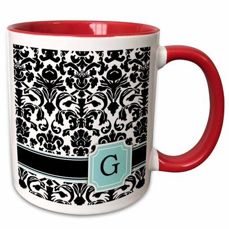 3dRose Letter G personal monogrammed mint blue black and white damask pattern - classy personalized initial - Two Tone Red Mug, (Holiday Personalized Mint Tins)