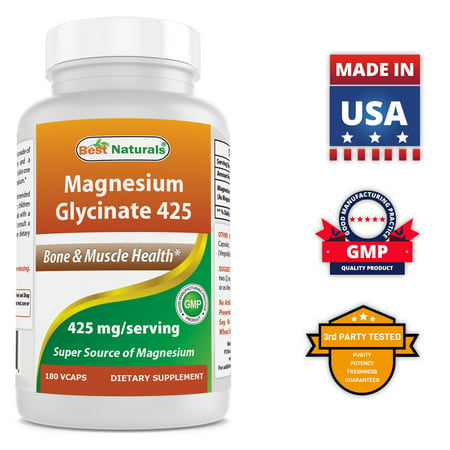 Best Naturals Magnesium Glycinate 425 mg 180 Veggie Capsules - High Absorption Chelated, Non-GMO, Gluten Free Magnesium for Muscle Relax, Helps with Stress Relief, Better Sleep & Migraines