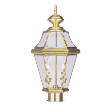 Outdoor Post 2 Light With Clear Beveled Glass Polished Brass size 21 in 120 Watts - World of