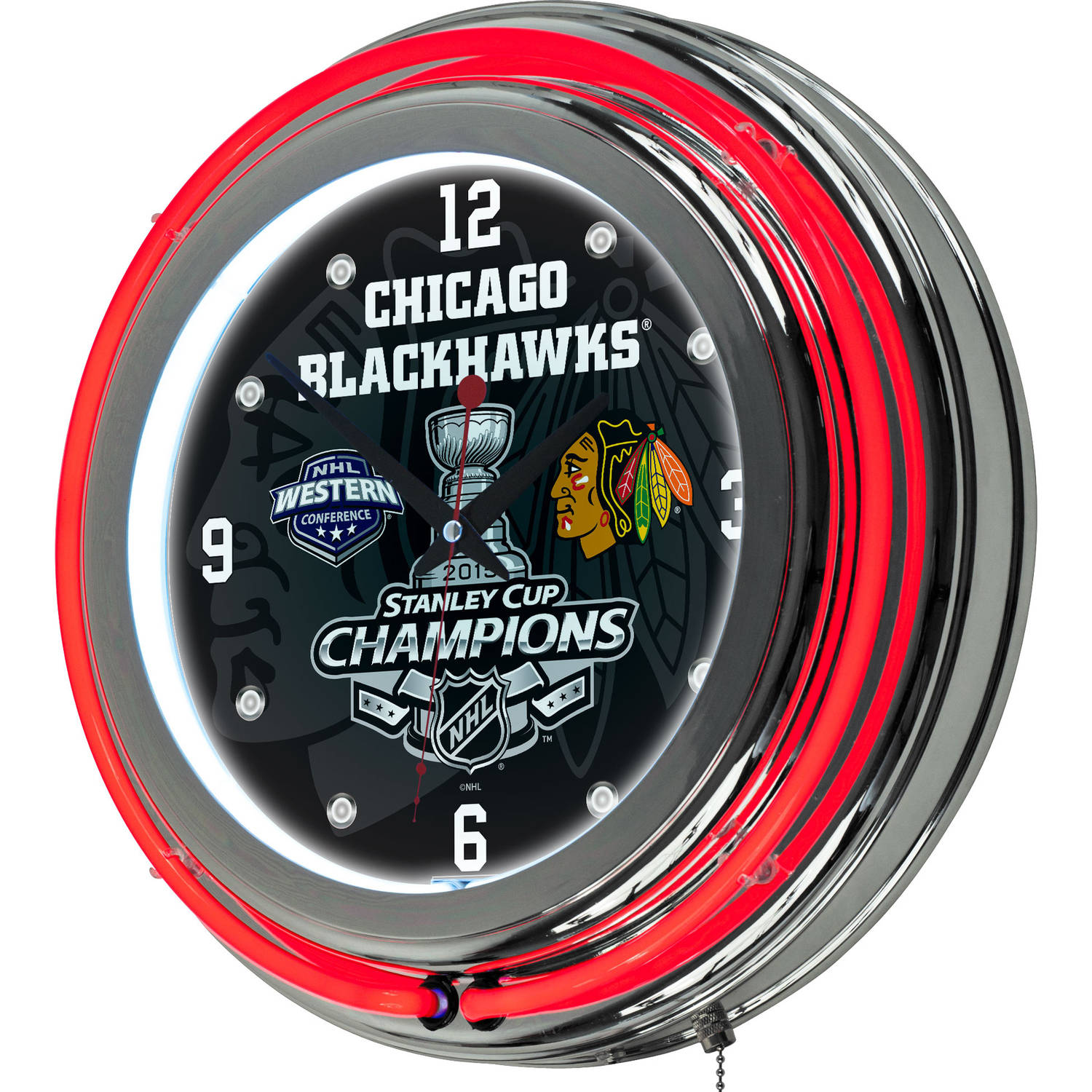 Chicago Blackhawks Chrome Double Neon Clock, 2015 Stanley Cup Champs