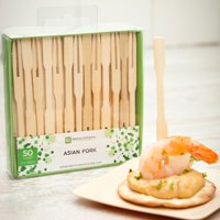 "Natural Bamboo Asian Fork - Retail Pack - 3 1/2"" - 50 count box"