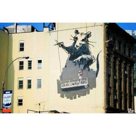 Banksy gantry rat giant scaffold mural urban graffiti for Banksy rat mural