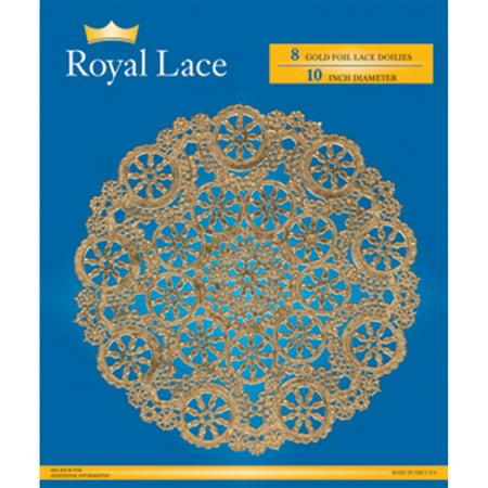 Royal Lace Foil Lace Round Doilies  Gold  10    8 Ct