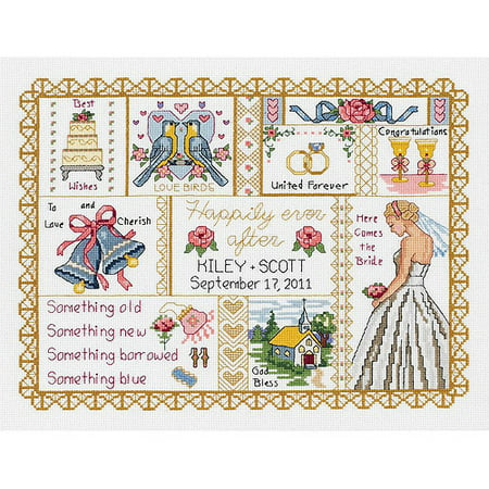Collage Needlepoint - Janlynn Wedding Collage Counted Cross Stitch Kit, 13-1/4