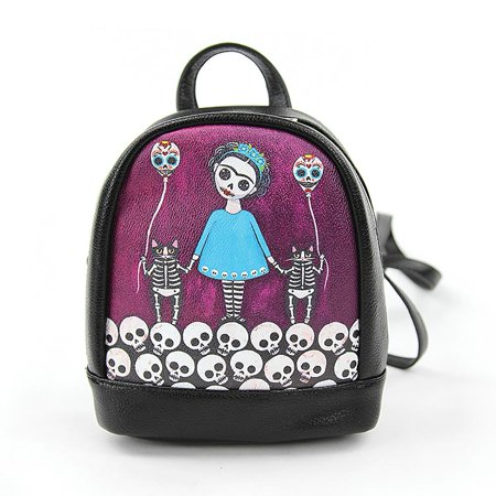Skeleton Day of the Dead Girl & Cats Mini Fashion Backpack -](Skeleton Backpack)