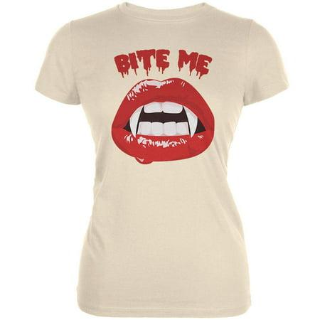Halloween Vampire Bite Me Cream Juniors Soft T-Shirt