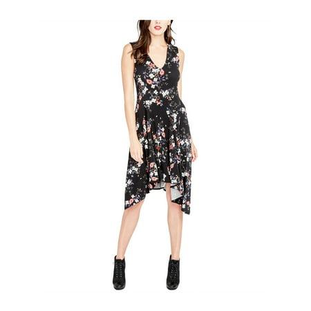 Rachel Roy Womens Floral Print Asymmetrical Dress blackcombo 2XL - image 1 de 1