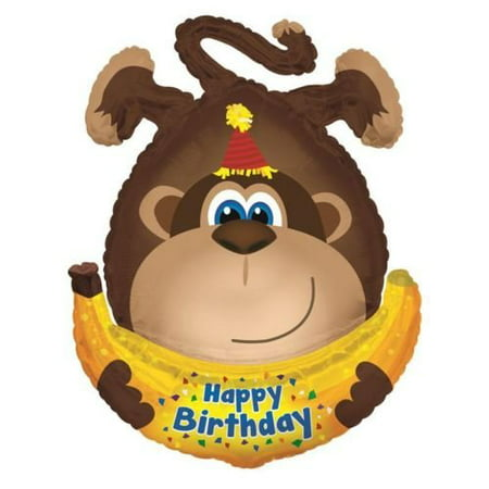 Happy Birthday Monkey with Banana 34 Inch Supershape Foil Balloon, By Monkeyin Around