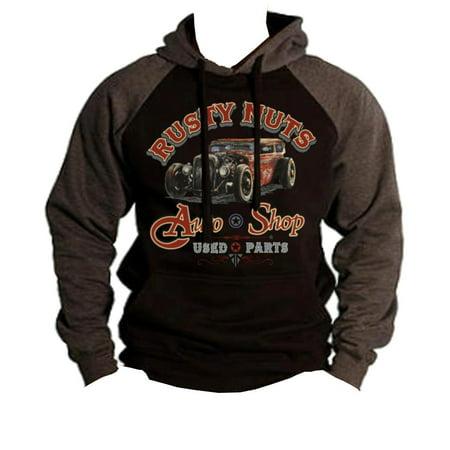 Baseball Sweater - Men's Rusty Nuts Auto Shop Black/Charcoal Raglan Baseball Hoodie Sweater Medium Black
