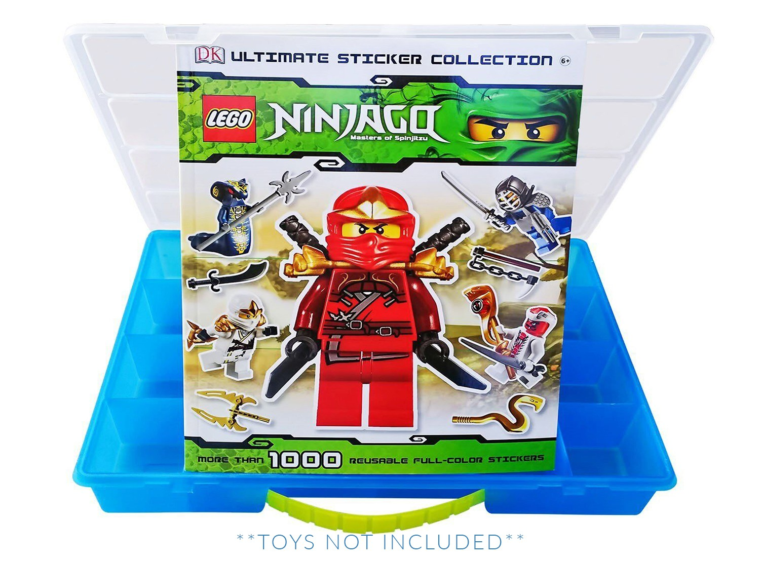LEGO Ninjago Sticker Book + Case, Toy Storage Carrying Box. Figures Playset  Organizer.