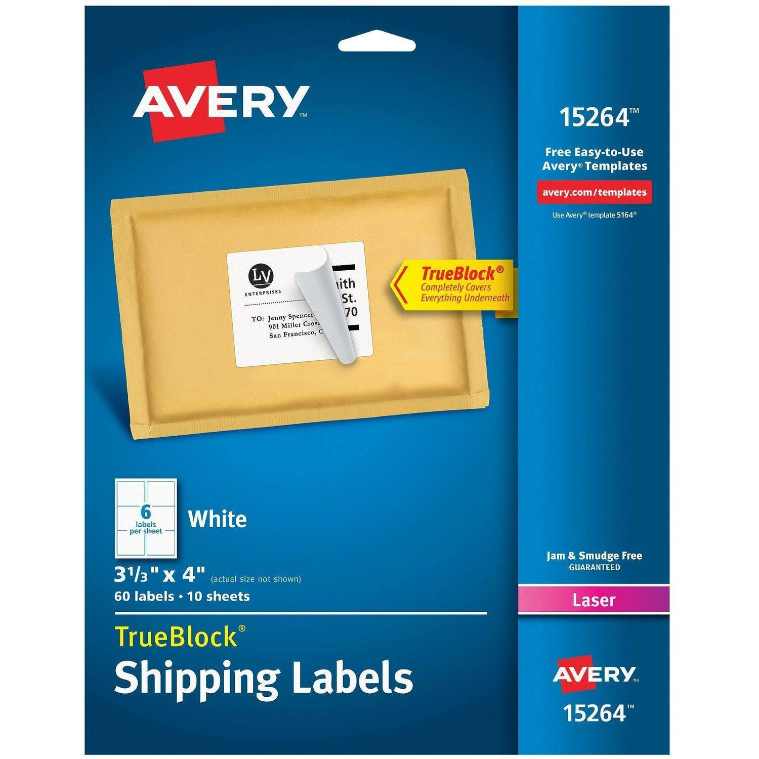 "Avery White Shipping Labels with TrueBlock Technology 15264, 3-1/3"" x 4"", Laser/Inkjet, 60pk"