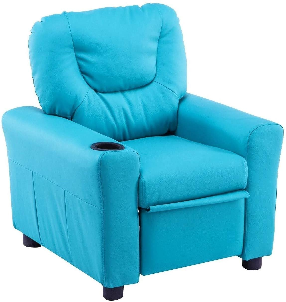 Mcombo Kids Recliner Chair Armrest Sofa Couch with Cup Holder for Toddlers Boys Girls Faux Leather 7240 Blue
