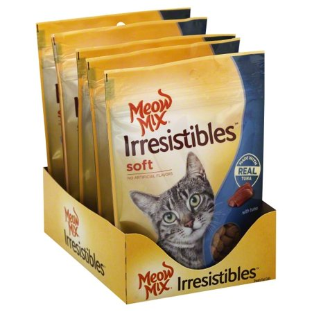 (4 Pack) Meow Mix Irresistibles Cat Treats, Soft With Tuna, 3-Ounce Bag ()
