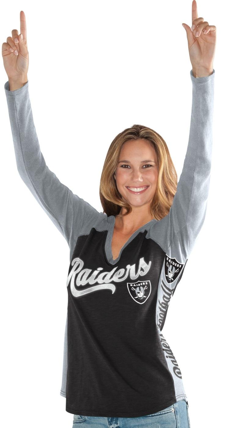 "Oakland Raiders Women's G-III NFL ""Stadium"" V-neck Long Sleeve T-shirt by G-III Sports"