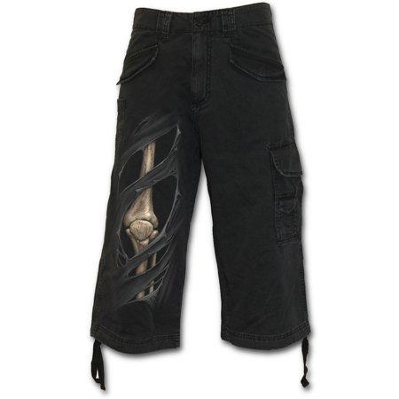 Spiral Direct BONE RIPS Woven Vintage Cargo Shorts 3/4 Long BlackZombie |Skeleton |Skulls - Bone Spiral