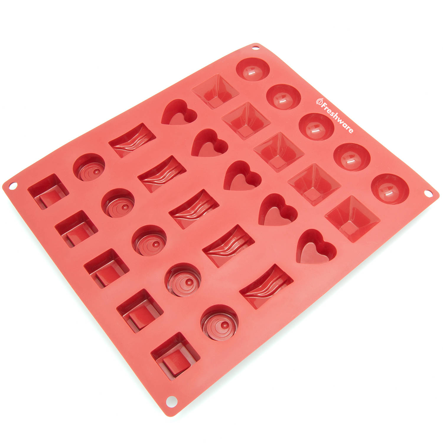 Freshware 30-Cavity Silicone Mold for Assorted Chocolate, Candy, Gummy and Jelly, CB-114RD
