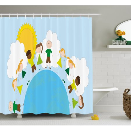 World Shower Curtain Smiling Kids Over Planet Drawing All Children Of The Happy Friendship Peace Fabric Bathroom Set With Hooks Multicolor