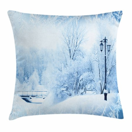 Winter Wonderland 15 Theme (Winter Throw Pillow Cushion Cover, Winter Trees in Wonderland Theme Christmas New Year Scenery Freezing Icy Weather, Decorative Square Accent Pillow Case, 18 X 18 Inches, Blue White, by)