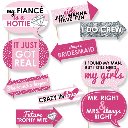 Funny Bride-To-Be - Bridal Shower & Classy Bachelorette Party Photo Booth Props Kit - 10 Piece