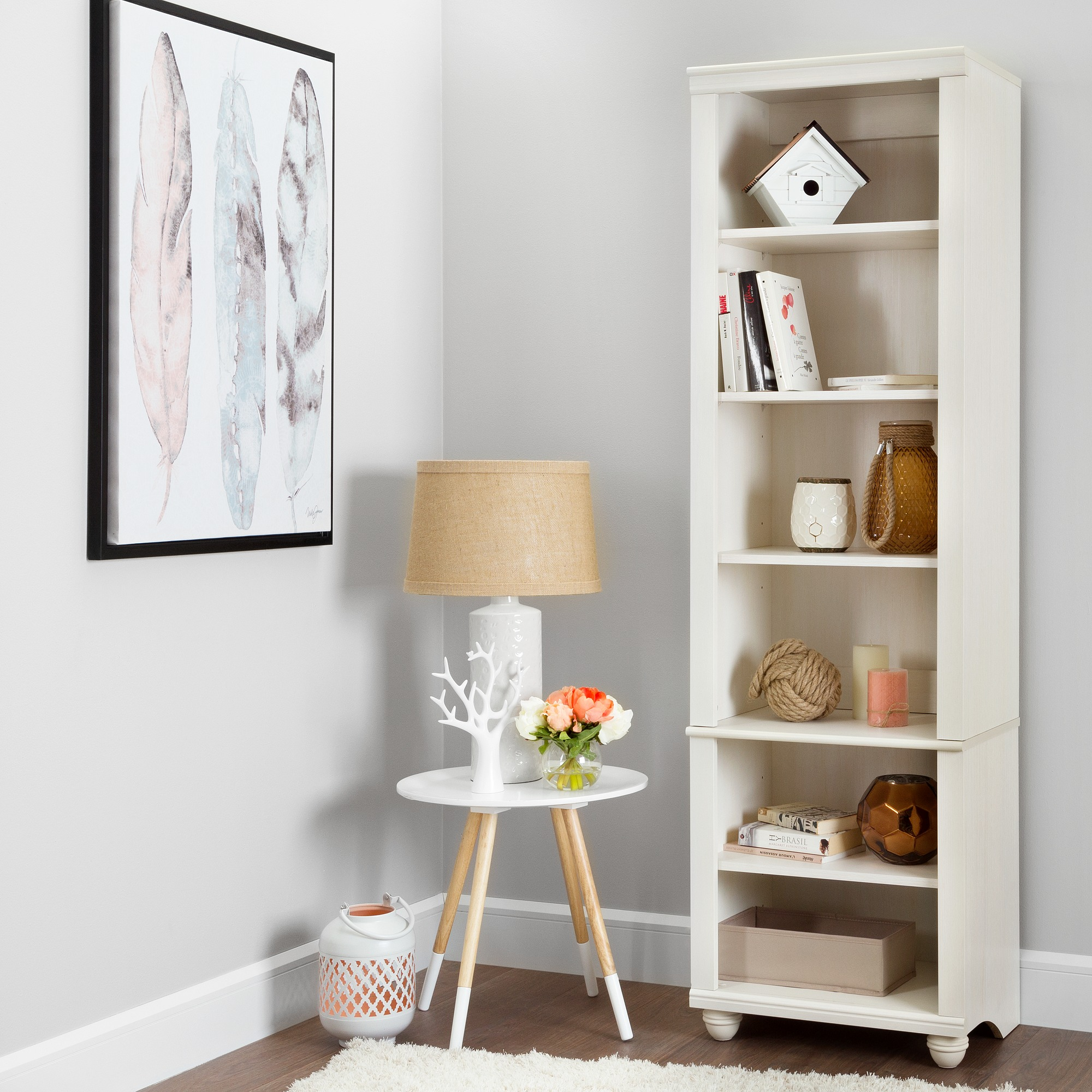 South Shore Hopedale Narrow 6-Shelf Bookcase, Multiple Finishes