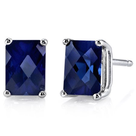 Peora 2.50 Ct T.G.W. Radiant-Cut Created Blue Sapphire 14K White Gold Stud Earrings