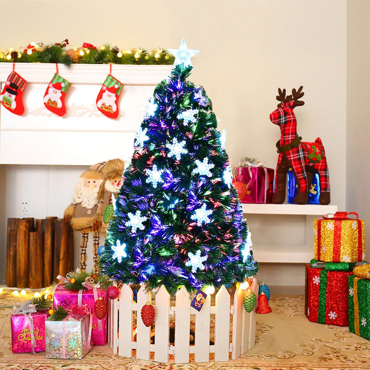 Gymax 4' Pre-Lit Multi-Color Lights Fiber Optic Artificial Christmas Tree with Snowflakes - image 7 of 7