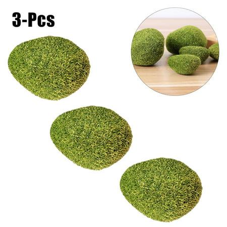 3pcs Artificial Moss Rocks Decorative Green Plastic Handmade