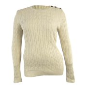Charter Club Women's Metallic Buttoned Cable Knit Sweater
