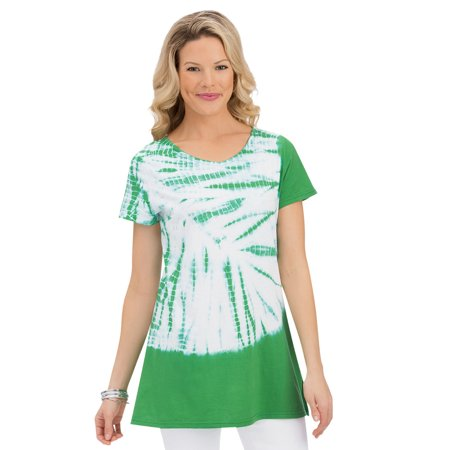 Miss Me Tunic (women's starburst tie dye cotton knit short sleeve tunic top with v-neckline, large, turquoise)