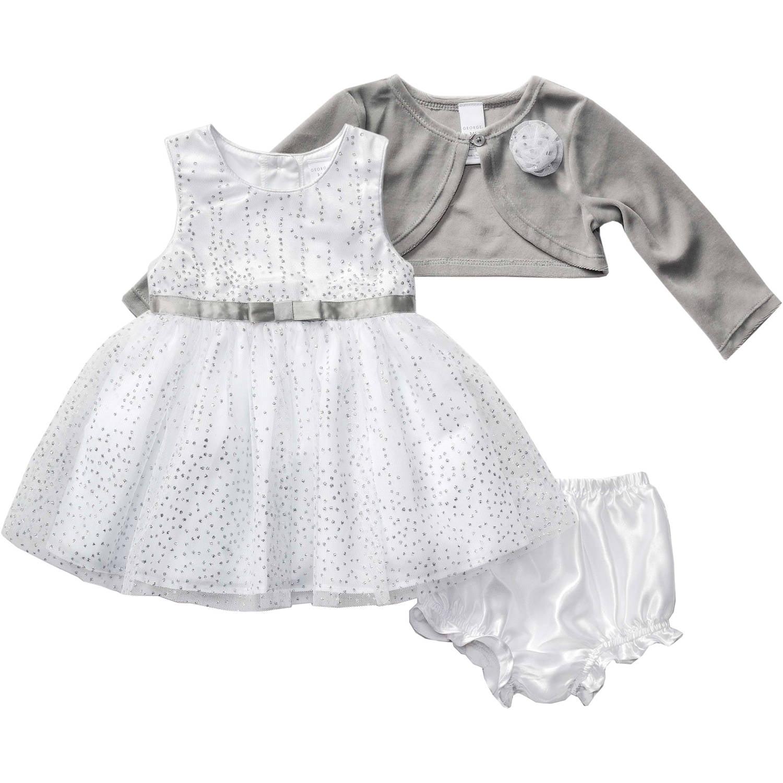 George - Holiday Nb Silver White Dress - Walmart.com