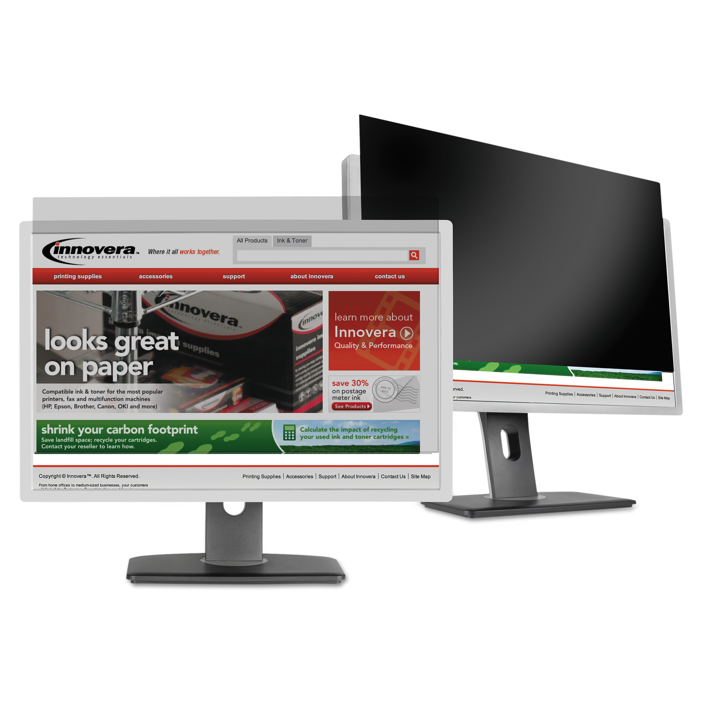 """Innovera Blackout Privacy Filter for 24"""" Widescreen LCD, 16:9 Aspect Ratio"""