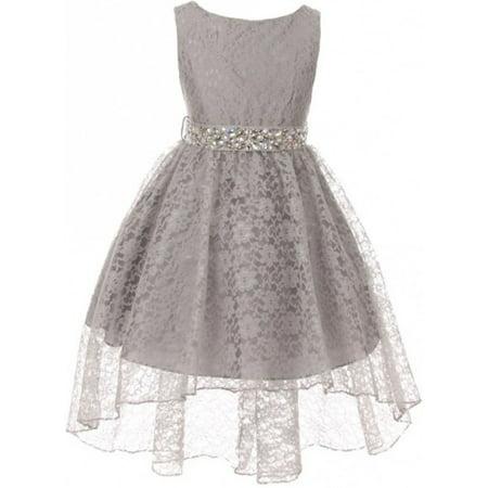 Girl Dress - Rhinestone Belt High Low Lace Pageant Graduation Flower Girl Dress Silver size 4 (Size 4-18) - Girls Silver Dresses