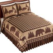 Woodland Buffalo Plaid Checkered Quilt - Northwoods Seasonal Bedroom Decor