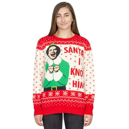 Elf Buddy Santa I Know Him Pattern Ugly Christmas Sweater (Adult - Adult Ugly Christmas Sweater