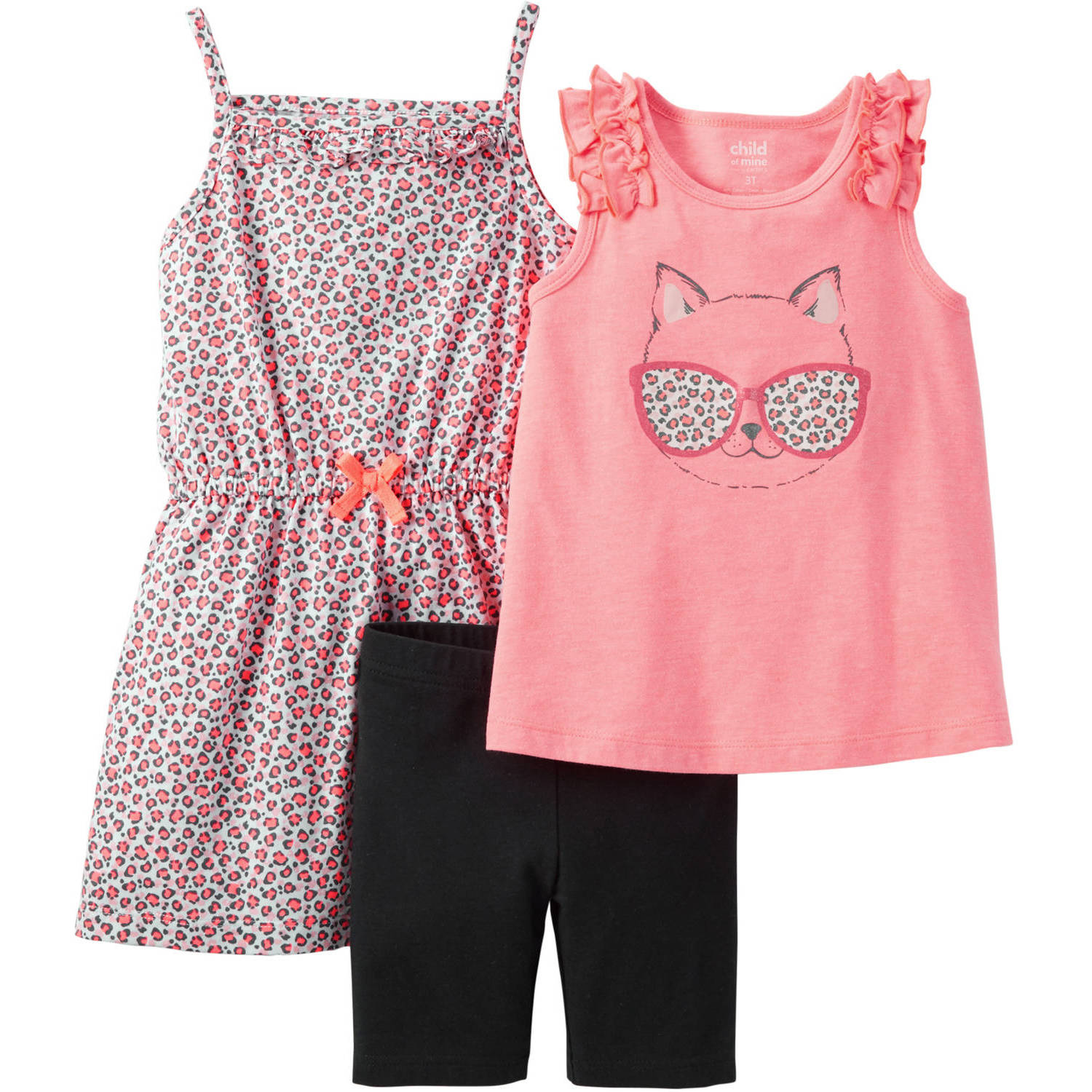Child of Mine made by Carter's Baby Toddler Girl T Shirt Capri and Dress Outfit Set 3 Pieces