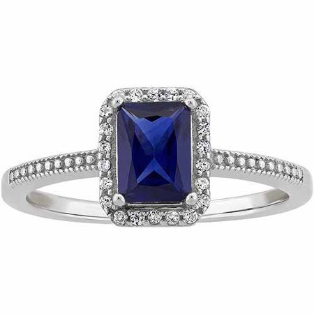 Created Sapphire And Cz Sterling Silver Emerald Cut Halo