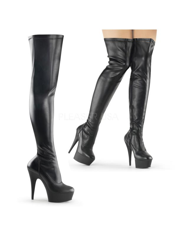 DEL3000/B/PU  (Exotic Dancing) Thigh High Boots Blk Pu Size: 11