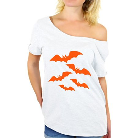 Awkward Styles Orange Bats Off Shoulder Shirt Women's Halloween Baggy Tshirt Cartoon Bats Oversized Shirt for Women Halloween Holiday Gifts for Her Halloween Bats Loose Tshirt Baggy Bats Shirt - Halloween Grinch Cartoon