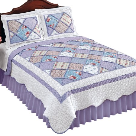 Reversible Ashland Floral Scalloped Patchwork Quilt with Tufted Purple Diamond Pattern - Seasonal Décor for Bedroom, Twin, Lilac