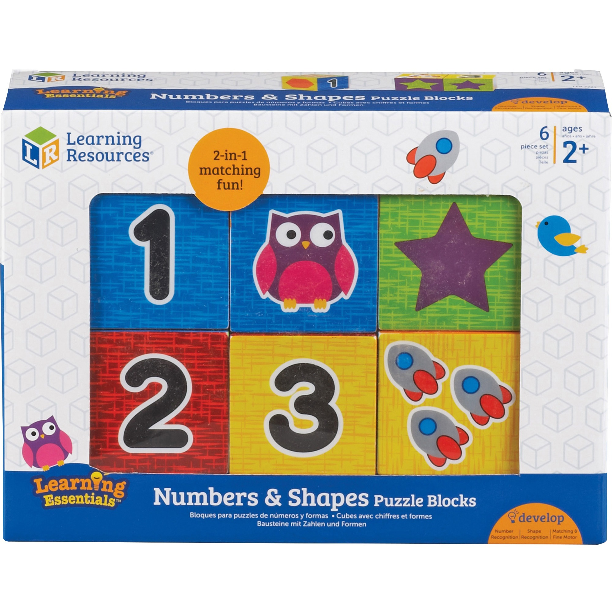 Learning Resources, LRN7721, Numbers Puzzle Blocks, 6 / Set, Black